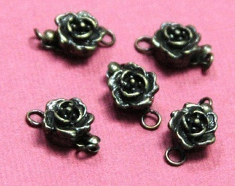 10 pcs of Antique brass finished rose clasp 10mm