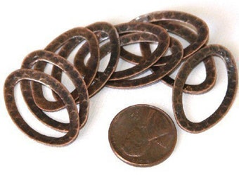 10 pcs of Antiqued Copper  hammered Oval Links 28X17mm