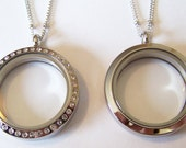 50% OFF TODAY Only....Stainless Steel Round Floating Locket, Available in Med or Lg, with or without CZ Stones, chain included