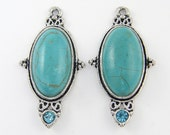 Turquoise Antique Silver Earring Finding Oval Turquoise Pendant Drop Charm with Aqua Rhinestone |B14-15|2