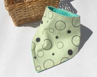 Bandana Baby Bib Dribble Bib Drooler Bib Infant bib Light Green with Brown Circles READY MADE