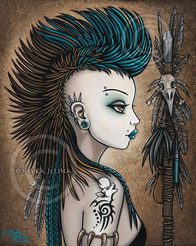 Tribal warrior mohawk wolf tattoo shapeshifter tala 8x10 for Tribal warrior tattoos
