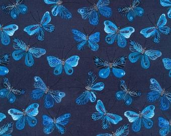 BOLT END Moody Blues Butterflies Navy Organic Cotton Fabric