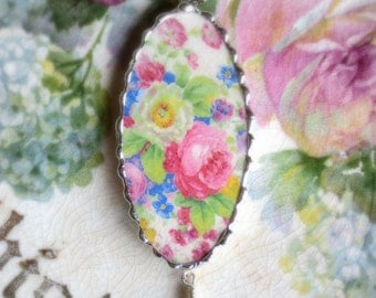 Vintage - Recycled Broken China - Old Rose Garden - Pendant -