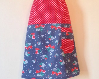 Sweet Strawberry Skirt - any size, custom made to fit you, plus sizes welcome - rockabilly skirt - handmade skirt - women's aline skirt