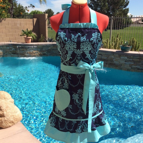 Sassy Damask Apron with Ruffles, Misses and Plus Sizes, Weddings, Bride Apron, Hostess Apron, Pin Up, Handmade, Beauty Queen, Something Blue