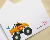 Yellow Monster Truck Card Set - Set of 8 - Personalized