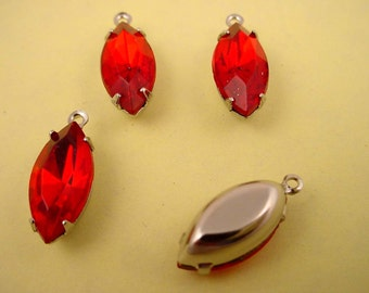 Vintage Siam red  Ruby glass  Navette Rhinestone silver setting Drop Charms 15x7 - 6 Pieces