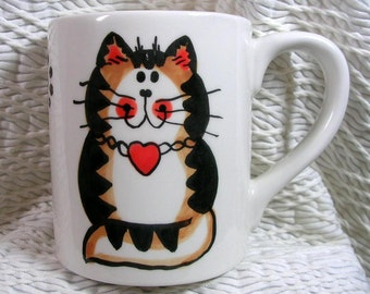 Cat Mug Rust Striped Tabby With Heart Handmade Earthenware Ceramic by GMS