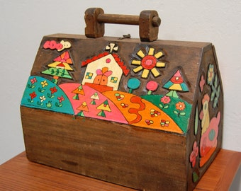 Carved Wood Mexican Box Vintage Folk Art 1960s Purse Lunch Box Painted Tool Box
