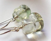 Green amethyst earrings natural prasiolite green quartz sterling silver 925 gemstone semi precious stone vermarine handmade fine jewelry