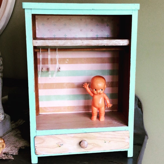 Vintage Doll Wardrobe Closet Cupboard Furniture Doll By