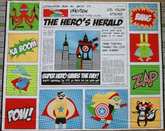 "SALE 24"" Superhero Quilt Panel Fabric from Robert Kaufman"