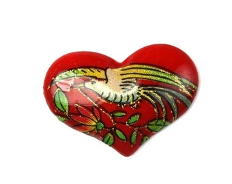 Vintage Japanese Glass Cabochon Bird and Flowers Heart - Red (4) VGC247