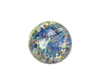 Glass Cabochons Czech 15mm Round Blue Opal (1) GC062