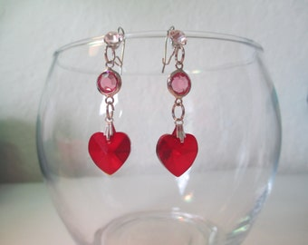 Pink and Red Heart Wedding Earrings