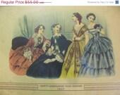 Super Sale Antique 1847 Godey's Womans Fashion Costume Paris Fashions Print Fashionable France Fashions, French 1800's artwork