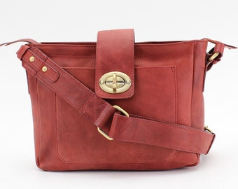 Leather Messenger Bag, Cross Body Bag, Antique Red