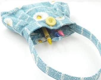 tiny purse. baby girl presents. cute teal aqua daisy toy toddler girl crayon bag. gifts under 25. twin first birthday purse