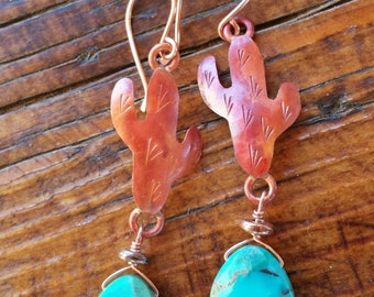 COPPER Cactus Earrings  - Turquoise Earrings - Saguaro Earrings  - Southwestern - Rustic Jewelry - Cowgirl Jewelry