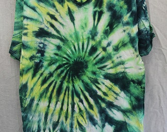 Tie Dye Shirt - Large Adult - V Neck - Short Sleeve - Dark Blue, Green and Yellow  - 100% Cotton