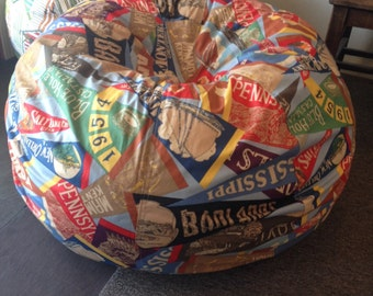 Vintage State Park Pennant Fabric Bean Bag pillow chair for retro cabin decor with Cover Liner you supply fill locally