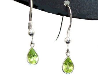 Peridot sterling silver french hook dangle earrings