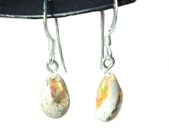 Mexican fire opal french hook dangle earrings