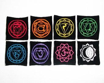 Full Set of Small Chakra Lotus Patches - Rainbow Chakra Iron or Sew on Patches - Kundalini Yoga Embroidery - Sanskrit Lotus Symbols