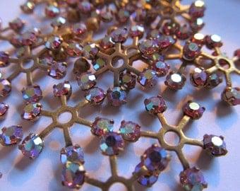 Vintage Swarovski Brass & Crystal Findings Jewellery Elements Wheels (8) Rose AB