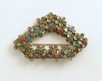 Vintage Brooch Flower Basket Pin Costume Jewelry Czechoslovakia