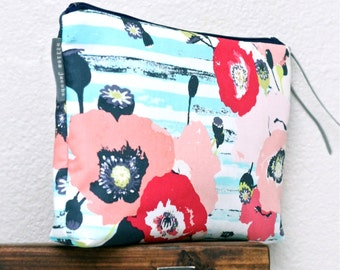 Large Makeup Bag, Floral Travel Bag, Navy and Pink Cosmetic Case, Gift For Her