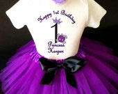 Pirate Princess Skull Purple Crown Black 1st First Girl Birthday Tutu Outfit Custom Personalized Name Age Party Shirt Set