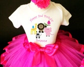 Zoo Animals Lion Zebra Giraffe Hot Pink Number 2nd Second Girl Birthday Tutu Outfit Custom Personalized Name Age Party Shirt Set