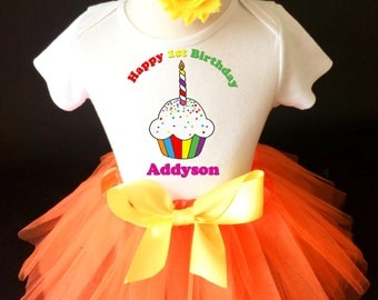 Rainbow Cupcake Orange Yellow 1st First Girl Birthday Tutu Outfit Custom Personalized Name Age Party Shirt Set