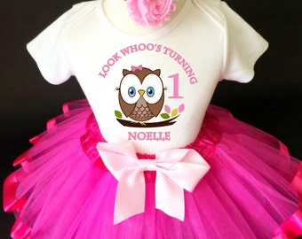 Owl Look WhOO's Whos Who's Brown Hot Pink 1st First Girl Birthday Tutu Outfit Custom Personalized Name Age Party Shirt Set