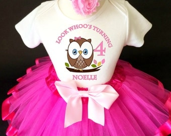 Owl Look WhOO's Whos Who's Brown Hot Pink 4th Girl Birthday Tutu Outfit Custom Personalized Name Age Party Shirt Set