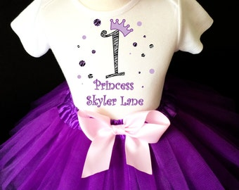 Zebra Print Purple Lavender Pink Polka dots dotted 1st First Girl Birthday Tutu Outfit Custom Personalized Name Age Party Shirt Set