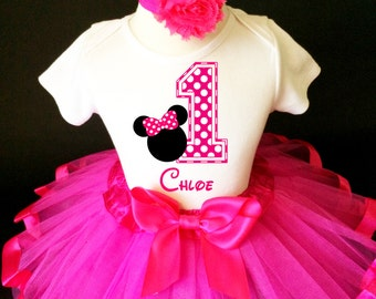 Hot Pink Minnie Mouse White Polka dots dotted 1st First Girl Birthday Tutu Baby Outfit Custom Personalized Name Age Party Shirt Set
