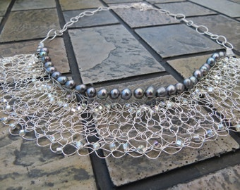 Millicent Wire Crochet Statement Necklace