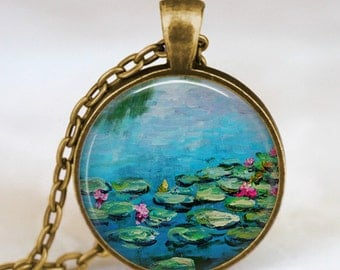 Claude monet water lilies necklace ,water lilies blue pond  pendant , monet art pendant, monet jewelry,Impressionist  jewelry