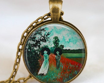 Claude monet romancing couple necklace ,taking a walk monet pendant , monet art pendant, monet jewelry,Impressionist  jewelry