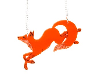 Running Fox Necklace in Orange, Woodland Animal, Foxy Necklace, hand painted