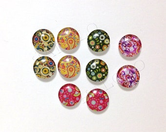 10pcs handmade assorted round clear glass dome cabochons 12mm (12-0264)
