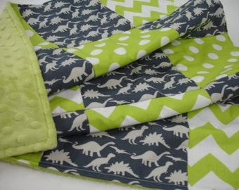 Dinosaur Parade Navy and Lime Patchwork Minky  You Choose Size Blanket MADE TO ORDER No Batting