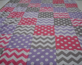 Hot Pink LavenderGray Chevrons and Dots Patchwork Minky Blanket You Choose Size and Minky Color  MADE TO ORDER No Batting