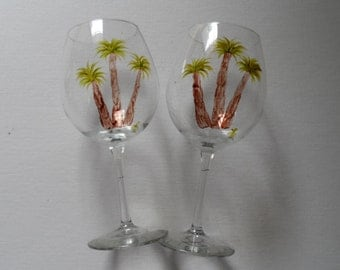 Palm Tree Wine Glasses Hand Painted Palm Tree Glasses Set of 2