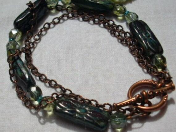 Czech Glass Bead Bracelet Copper Chain Heirloom Clasp