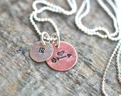 Arrow and Heart Charm, Stamped Initial, Heart and Arrow Mixed Metal Sterling Silver and Copper Hand Stamped Personalized Charm Necklace