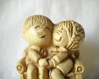 Vintage Figurine Paula Figurine Molded Plastic Figurine 1976 Couple Figurine